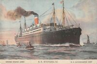 Vtg Original Postcard  S.S. Republic United States Line US Government Ship