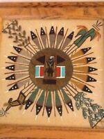 "Navajo Sand Art Square 11"" Wooden Frame"