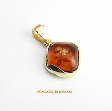 Italian Made Modern Elegant Baltic Amber Pendant in 9ct Gold GP0015  RRP£150!!!