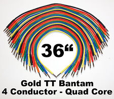 "24 New Gold TT Bantam 36"" Quad Core Patch Cables Cords 3 Feet Leads 4 Conductor"