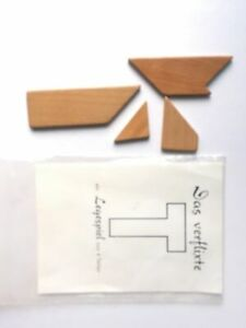 """Das verflixte T"" - Holzlegespiel / Holzpuzzle aus 4 Teilen - neu"