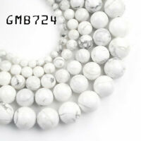 """Natural Stone Beads White Howlite Stone Beads For Jewelry Making 15"""" 4 6 8 10mm"""