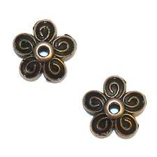M3158p Antiqued Copper 10mm 5-Petal Scalloped Filigree Flower Bead Caps 50/pkg
