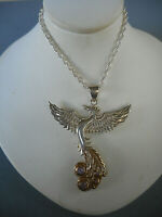 "Peter Stone Sterling Silver GF Phoenix Pendant Sterling 30"" Chain Necklace 2119A"