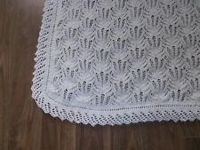 Hand Knitted White Christening Shawl - Cot Blanket or Pram Blanket