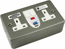 Timeguard RCD07MAV Valiance Metal Clad RCD Protection Twin Switched Socket Activ