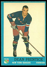 1962 63 TOPPS HOCKEY 53 DEAN PRENTICE EX-NM N Y RANGERS WITH FREE SHIP TO USA