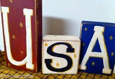 USA sign wooden blocks stacking shelf sitter Americana decor handpainted U S A