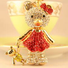 Red Baby Bear Fashion Keychain Rhinestone Crystal Charm Cute Animal Gift 01131
