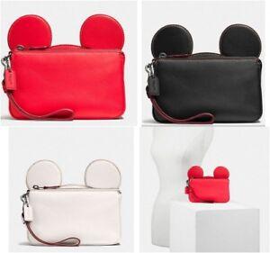 Coach Disney X Wristlet in Glove Calf Leather Mickey Ears F59529 NEW! $225