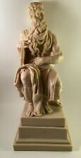 """Alabaster Stone MOSES Sculpture Holding the 10 Commandments 13"""" Tall"""