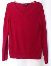 Womens Top S 4 6 Lands End Cotton Blend V-Neck Sweater Burgundy Dark Berry