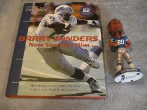 BARRY SANDERS BOBBLEHEAD & AUTOBIOGRAPHY w/DVD(BARRY SANDERS NOW YOU SEE HIM)