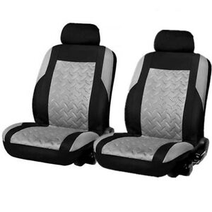 2Pcs Universal 3D Embossed Car Front Seat Covers Protector Cushions Black/Gray