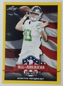 2020 Leaf Draft All-American Gold Justin Herbert Rookie RC #63, Parallel