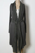 Damen Mantel Gr. 38-40 dunkel-grau Zipfel Chiffon Shirtmantel mit Gürtel