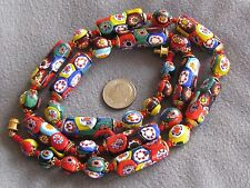 "Fabulous Big Bold 24.5"" Vintage Venetian Millefiori Bead Necklace Colorful"