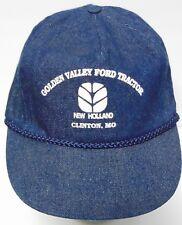 Vtg 1990s Ford Tractors Equipment New Holland Farm All Denim Snapback Hat Cap