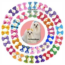 100 Assorted Colorful Pet Dog Cat Puppy Bows Yorkie, Maltese, Chihuahau Shih Tzu