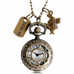 Antique Alice In Wonderland Flower Hollow Drink Me Necklace Pocket Watch Gifts