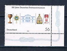 Bund Mi 2247 100 Jahre Dt.  Freimaurermuseum Bayreuth 2002 postfrisch Eckrand