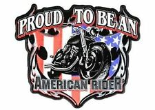 Proud to be an American Rider QUALITY Motorcycle MC Club USA BACK Patch LRG-0077