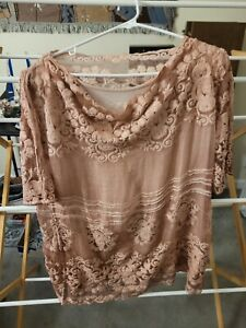 EUC Soft Surroundings Petite M Blouse Light Pink Embroidered Sheer over camisole