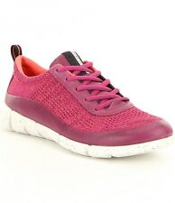 Ecco Intrinsic Fuchsia Coral Leather Womens Lace-up Sneakers Size 40 EU  9-9.5
