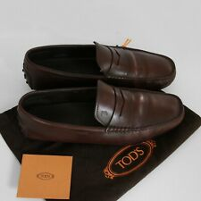 Men's Tod's Loafers, Dark Brown Leather, Size 8