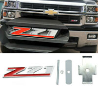 1x New Metal Z71 Red Silver Front Grille Emblem Badge For Chevy GMC Trucks
