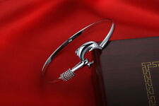 New 925 Sterling Silver Dolphin Charm Classic Womens Bangle Bracelet with Clasp