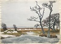 Karl Adser 1912-1995 Winter's Day Bald Trees on The Baltic Sea Island Romsö