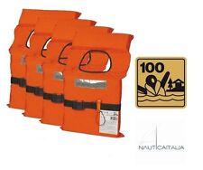 KIT 4 GIUBBOTTI DI SALVATAGGIO SALVAGENTE 100 N ISO 12402-4 ENTRO 6 MIGLIA BARCA
