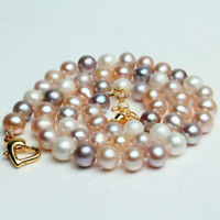 Genuine Natural 7-8mm White Pink Lavender Pearl Necklace 16-18 inch