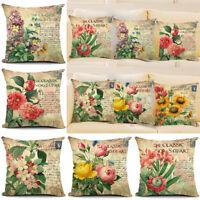 18'' Vintage Flower Cotton Linen Pillow Case Throw Cushion Cover Home Decor