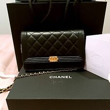 Authentic Used Chanel Boy Black WOC Gold Wallet On Chain Crossbody Shoulder Bag