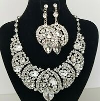 Sophia Crystal Clear Big Stone Necklace Set BRIDAL Belly Dance Drag S104