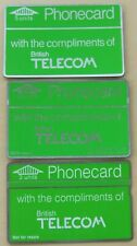 3 early BT complimentary phonecards (one without not for resale and one 3 units