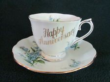 """Royal Albert Bone China Forget Me Not """"Happy Anniversary"""" Cup & Saucer"""