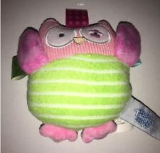 "Taggies 4.5"" oodles Owl Baby Soft Plush Rattle Toy Pink Green"