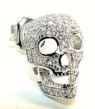 SINGLE RHODIUM PLATED 925 SILVER CZ ENCRUSTED SKULL MENS 12MM STUD EARRING