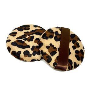 Cheetah Nude Powder Puff Large 3 1/4 in Body Makeup Puff with Satin Ribbon