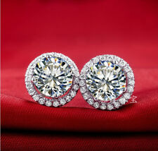 new vintage fashion jewelry 3 ct diamond halo stud earrings 14K White Gold Over