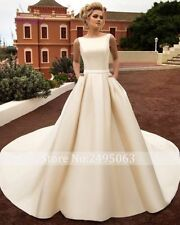 2017 Fashion Satin A-Line wedding dress bridal ball gown custom Size 2 4 6 8 10+