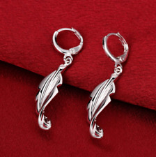 Womens 925 Sterling Silver Leaf Drop Dangle Fashion Pierced Earrings #E88