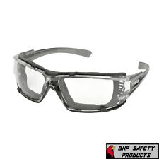 ELVEX GO SPECS IV SAFETY GLASSES,CLEAR ANTI-FOG LENS,FOAM LINE,DARK GREY TEMPLES