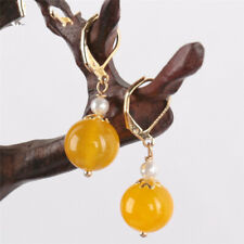 Yellow chalcedony pearl Earring 18KGP Dangle Holiday gifts Cultured Jewelry