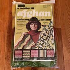 Vintage 1970's Afghan Yarn Kit - Green Rust Brown Gold Nos