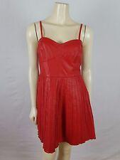 FREE PEOPLE sleeveless leather feel red adjustable mini dress size M