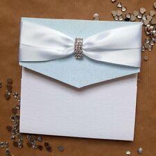 Lizzy ice blue glitter and diamante pocket wedding invitation
